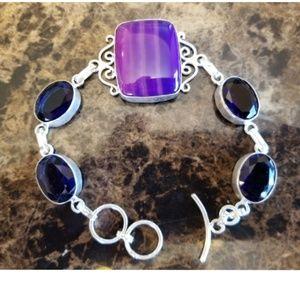"Jewelry - River Agate and Sapphire Quartz Bracelet 8.5"""